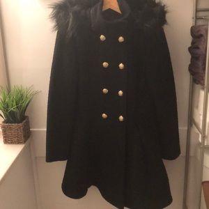 Liz Claiborne Black Wool Coat with Removable Hood